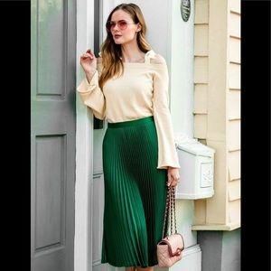 Zara pleated emerald skirt